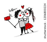 couple in love do photos with... | Shutterstock .eps vector #1206803224