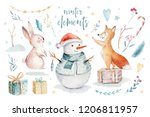 Stock photo watercolor merry christmas illustration with snowman christmas tree holiday cute animals fox 1206811957