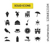 sunny icons set with grill ...