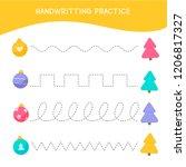 handwriting practice sheet.... | Shutterstock .eps vector #1206817327