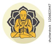 vector buddhism icon meditating ... | Shutterstock .eps vector #1206823447