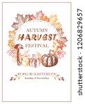 autumn harvest festival poster... | Shutterstock .eps vector #1206829657