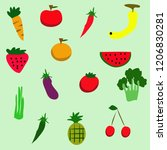 doodle veggies and fruits... | Shutterstock .eps vector #1206830281