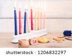hanukkah dreidels with menorah... | Shutterstock . vector #1206832297