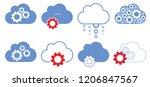 cloud cogwheel gears mechanism... | Shutterstock .eps vector #1206847567