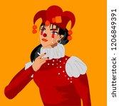 girl in clown clothes  smoking... | Shutterstock .eps vector #1206849391