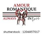 slogan  amour romantique... | Shutterstock .eps vector #1206857017
