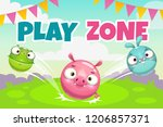 kids zone banner concept  play... | Shutterstock .eps vector #1206857371
