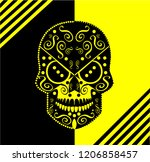 radiation skull icon with... | Shutterstock .eps vector #1206858457