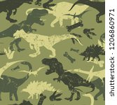 seamless  camouflage dino... | Shutterstock .eps vector #1206860971
