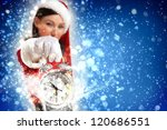 excited girl with santa hat... | Shutterstock . vector #120686551