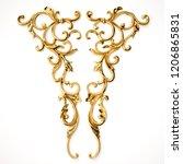 3d rendering beautiful golden... | Shutterstock . vector #1206865831