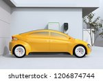 side view of yellow electric... | Shutterstock . vector #1206874744