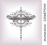 sacred geomtric pattern and... | Shutterstock .eps vector #1206879244