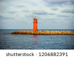 red lighthouse of damietta with ... | Shutterstock . vector #1206882391