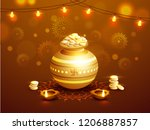 realistic coin pot with stack... | Shutterstock .eps vector #1206887857