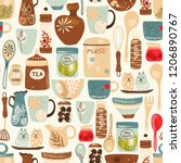 seamless kitchen pattern of... | Shutterstock .eps vector #1206890767