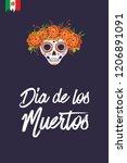 sugar skull for day of the dead ... | Shutterstock .eps vector #1206891091