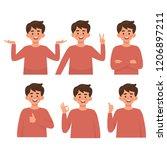 set of character of boys ... | Shutterstock .eps vector #1206897211