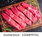 raw meat  beef steak with... | Shutterstock . vector #1206899761