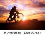 mountain biker silhouette... | Shutterstock . vector #1206907654