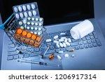 online pharmacy   shopping cart ... | Shutterstock . vector #1206917314