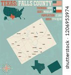detailed map of falls county in ... | Shutterstock .eps vector #1206953974