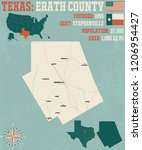 detailed map of erath county in ... | Shutterstock .eps vector #1206954427