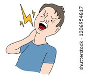 an image of a injured neck man... | Shutterstock .eps vector #1206954817