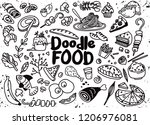 hand drawn set of food... | Shutterstock .eps vector #1206976081