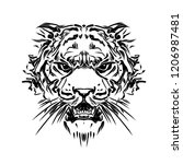 wild tiger face tattoo | Shutterstock . vector #1206987481