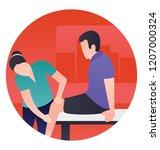 doctor is checking bones of... | Shutterstock .eps vector #1207000324