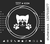 cut cat with paws   logo ... | Shutterstock .eps vector #1207010077