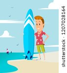 surfer with surfboard | Shutterstock .eps vector #1207028164