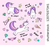 set of unicorns in different... | Shutterstock .eps vector #1207037341