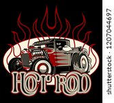 cartoon retro hot rod poster.... | Shutterstock .eps vector #1207044697