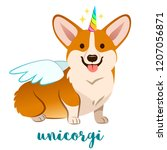 unicorn corgi dog with horn and ... | Shutterstock .eps vector #1207056871