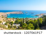view on azure bay in lindos... | Shutterstock . vector #1207061917