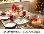 christmas  holidays and eating... | Shutterstock . vector #1207066501
