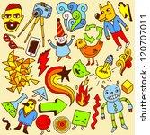 crazy doodle set. vector... | Shutterstock .eps vector #120707011
