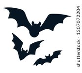 halloween black bats flying... | Shutterstock .eps vector #1207072204