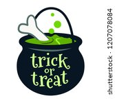 halloween trick or treat black... | Shutterstock .eps vector #1207078084