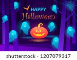 spooky forest with ghosts.... | Shutterstock .eps vector #1207079317