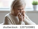 upset senior woman crying at... | Shutterstock . vector #1207103881