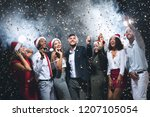 new year party. happy diverse... | Shutterstock . vector #1207105054