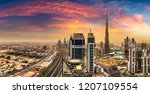 Stock photo panorama of downtown dubai in a summer day united arab emirates 1207109554