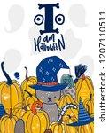 happy halloween text card.... | Shutterstock .eps vector #1207110511