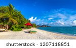 panorama of wooden sunbed and...   Shutterstock . vector #1207118851