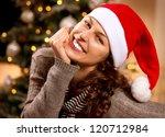Christmas Woman In Santa Hat...