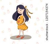 brunette pregnant girl waiting... | Shutterstock . vector #1207154374